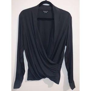 THEORY | Silk Deep Wrap-Style Blouse